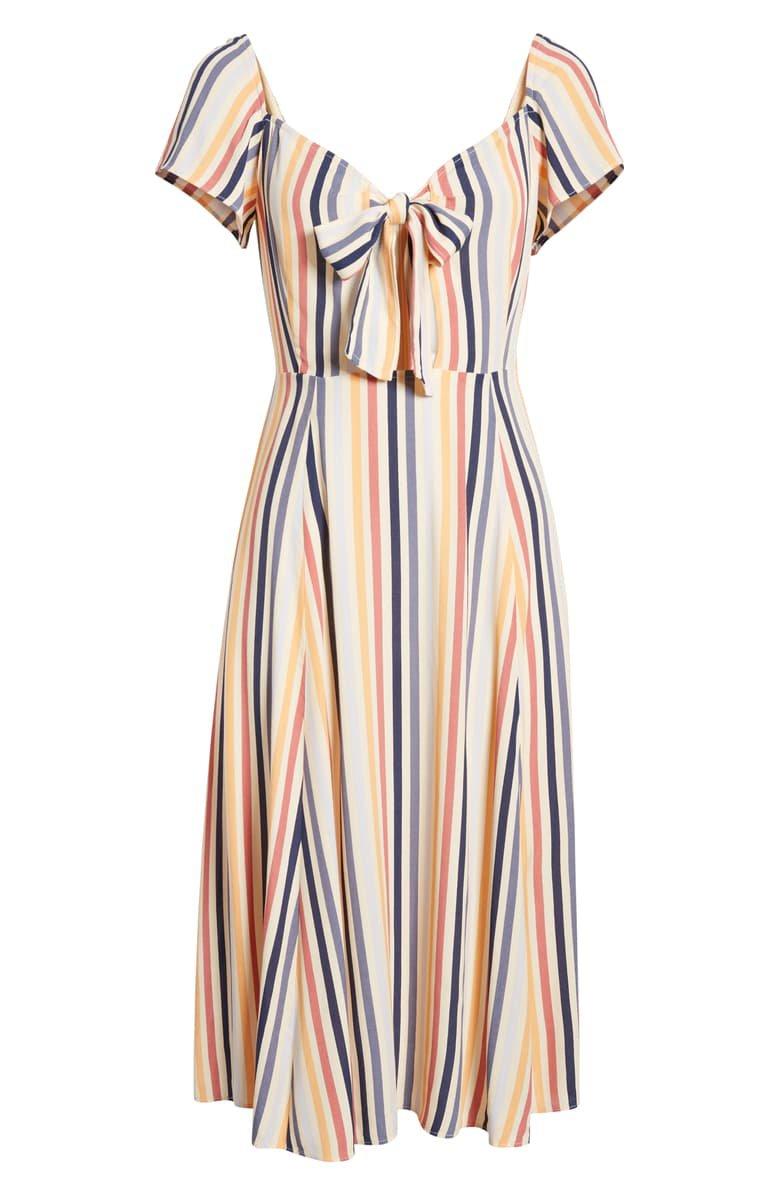 Leith Tie Front Midi Dress | Nordstrom