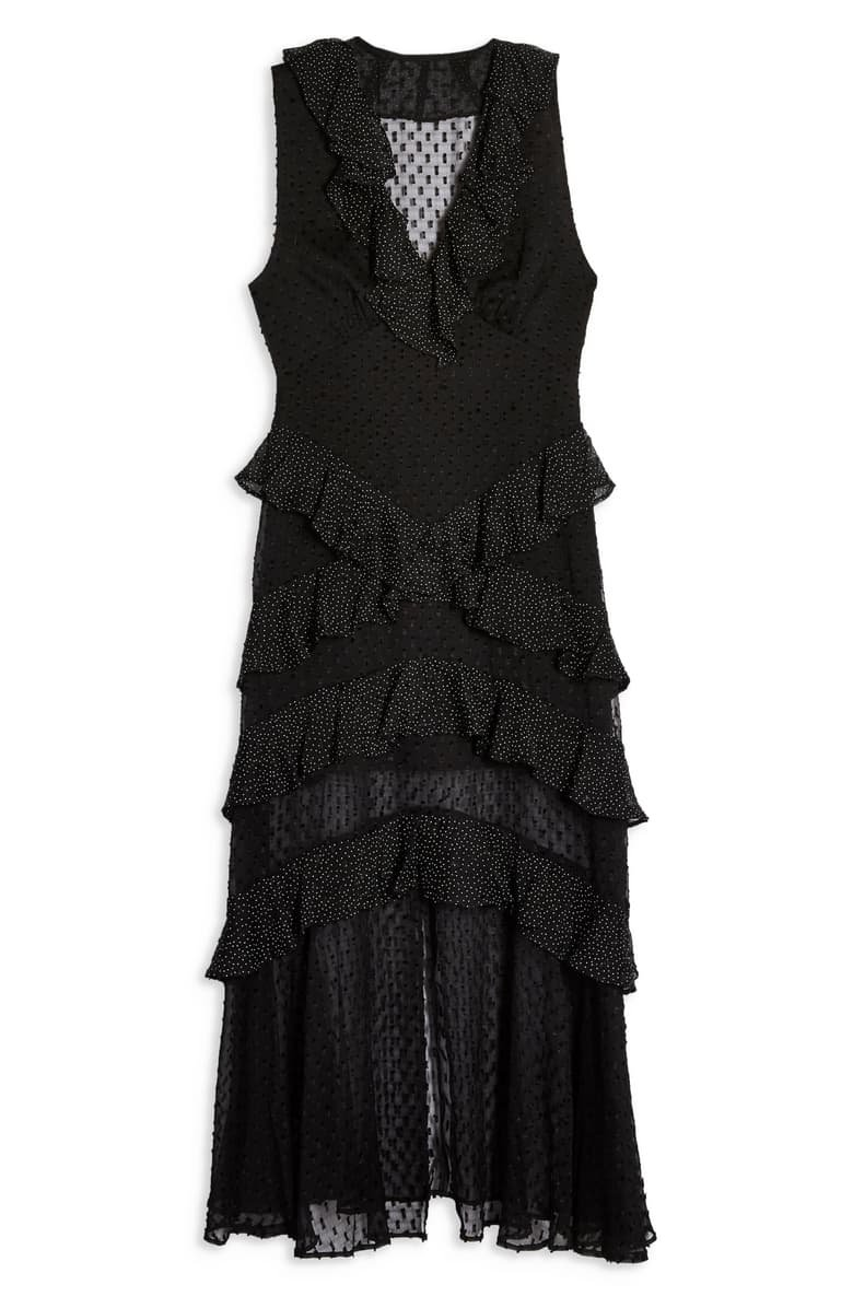 Topshop Spot Ruffle Midi Dress black