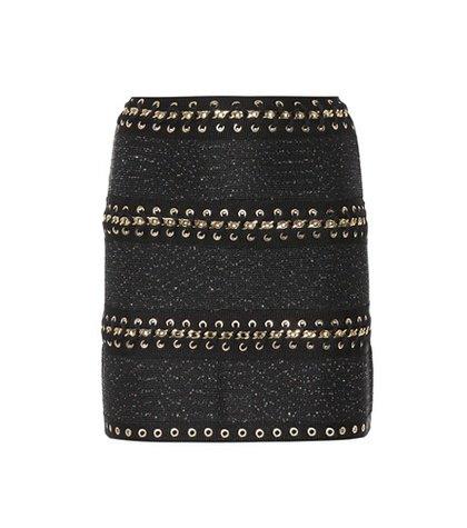 Whipstitched tweed miniskirt