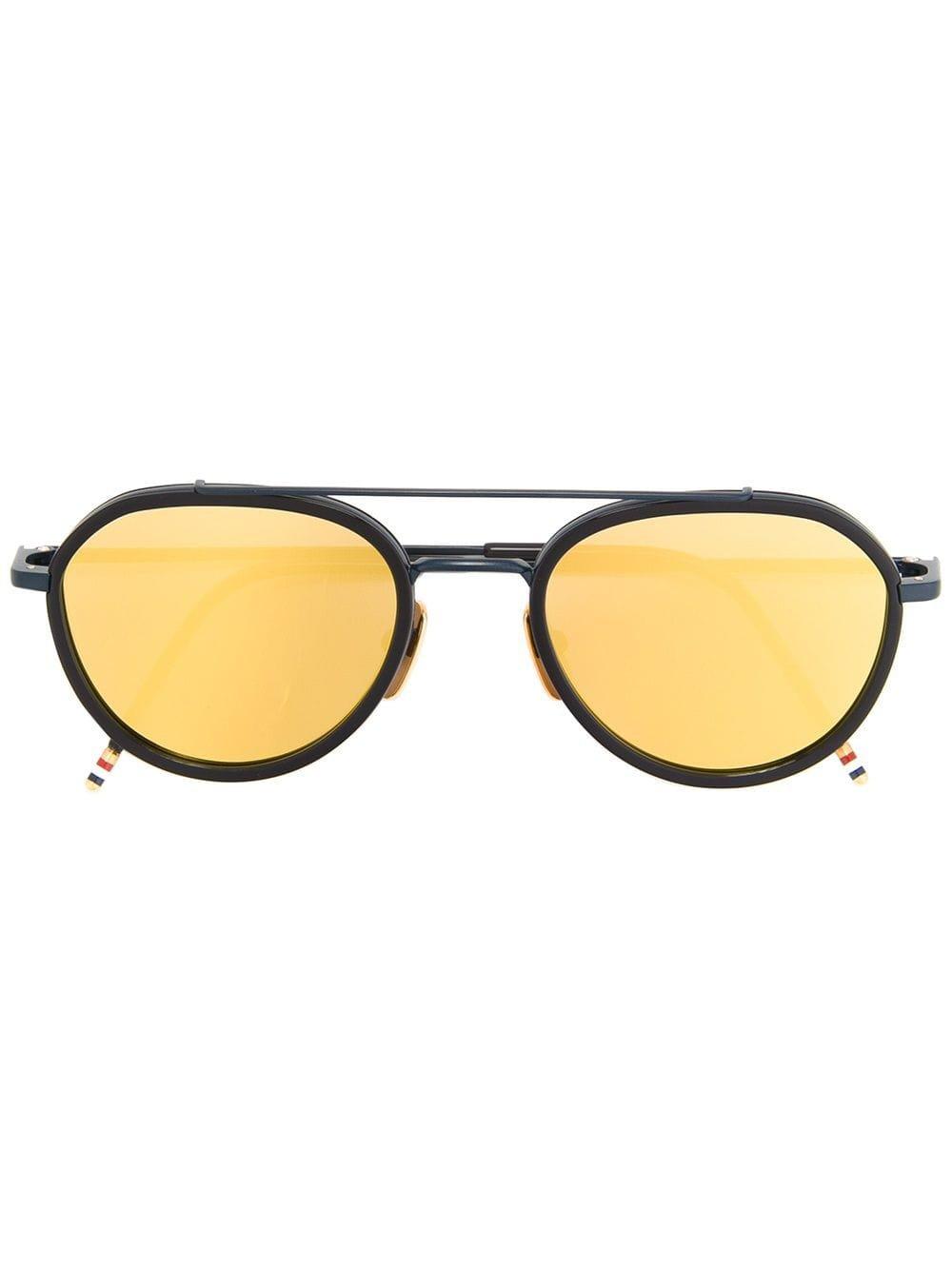 Thom Browne Eyewear Matte Navy & Dark Brown Sunglasses