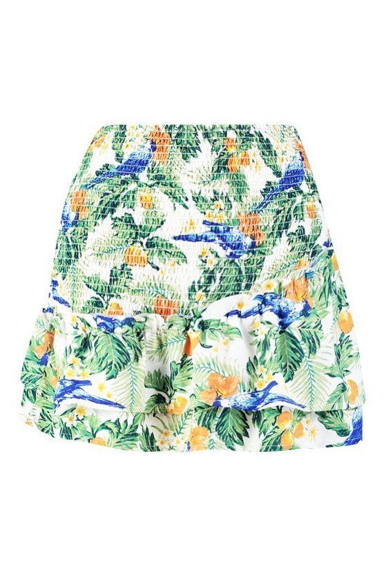 Shirred Asymetric Skirt | Boohoo