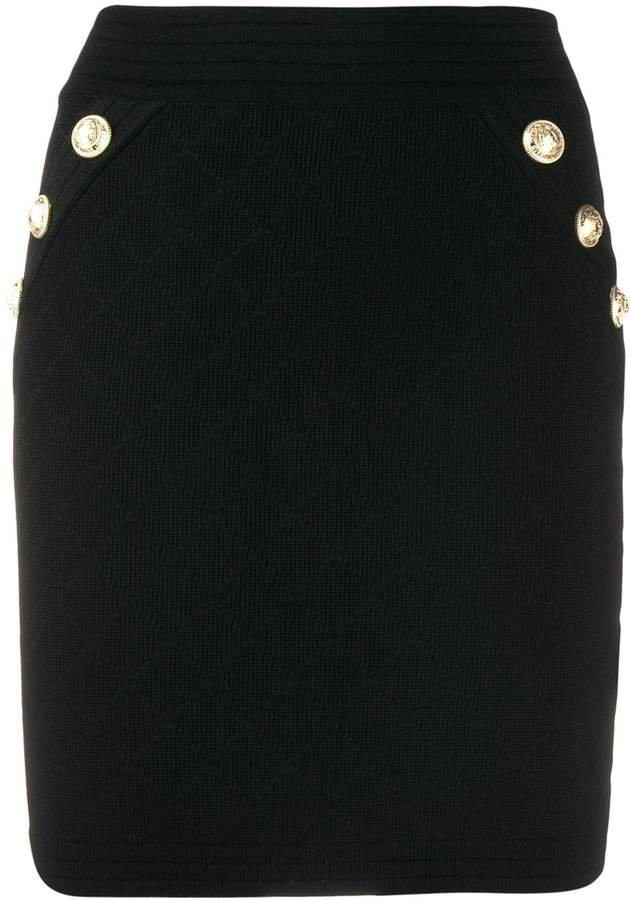 button-front pencil skirt