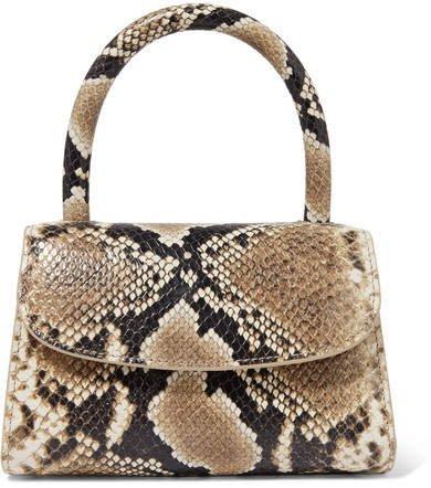 Mini Snake-effect Leather Tote - Snake print
