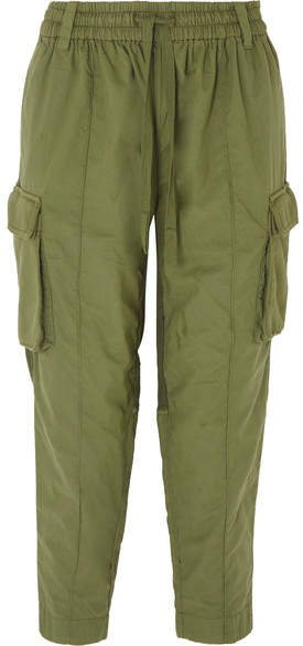 Cropped Paneled Cotton Cargo Pants - Green