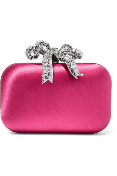 Jimmy Choo | Cloud crystal-embellished satin clutch | NET-A-PORTER.COM