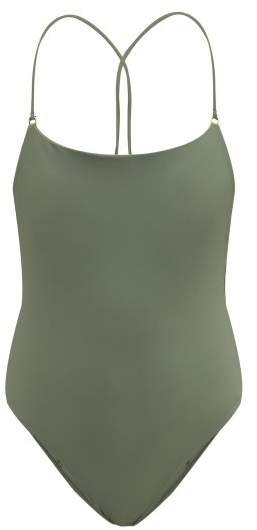 Tether Crossover Back Swimsuit - Womens - Khaki