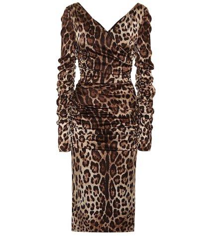 Leopard stretch silk satin dress
