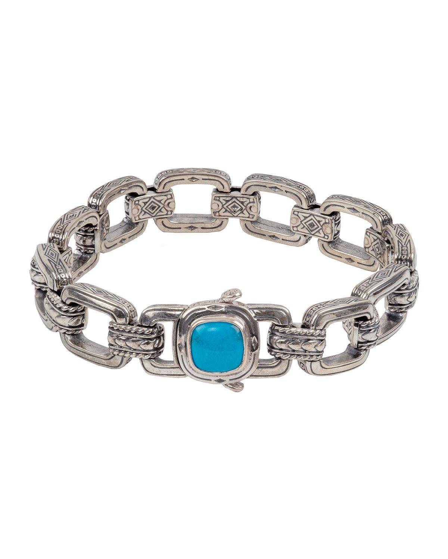 Konstantino Sterling Silver & Turquoise Link Bracelet