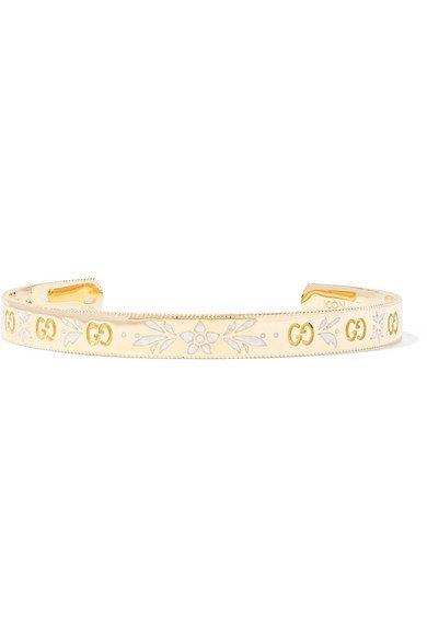 Gucci | Icon 18-karat gold and enamel cuff | NET-A-PORTER.COM