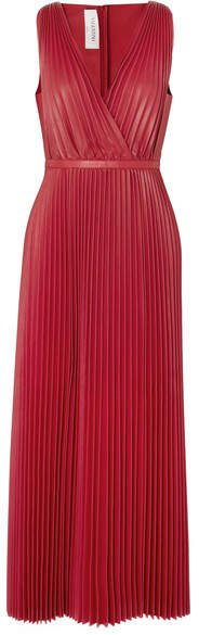 Pleated Leather Maxi Dress - Red
