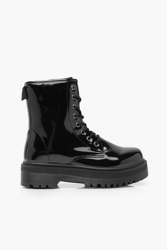 Chunky Sole Lace Up Hiker Boots | Boohoo black