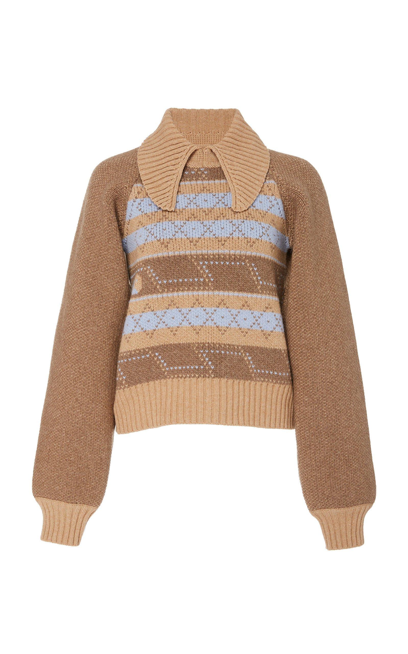 Ganni Argyle Wool-Blend Sweater