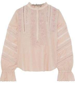 Lace-trimmed Broderie Anglaise Cotton-blend Blouse