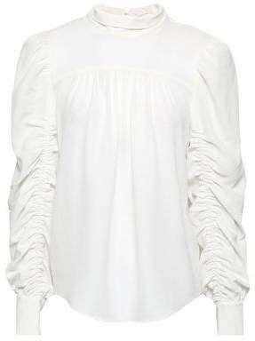 Kineta Ruched Hammered Crepe De Chine Blouse
