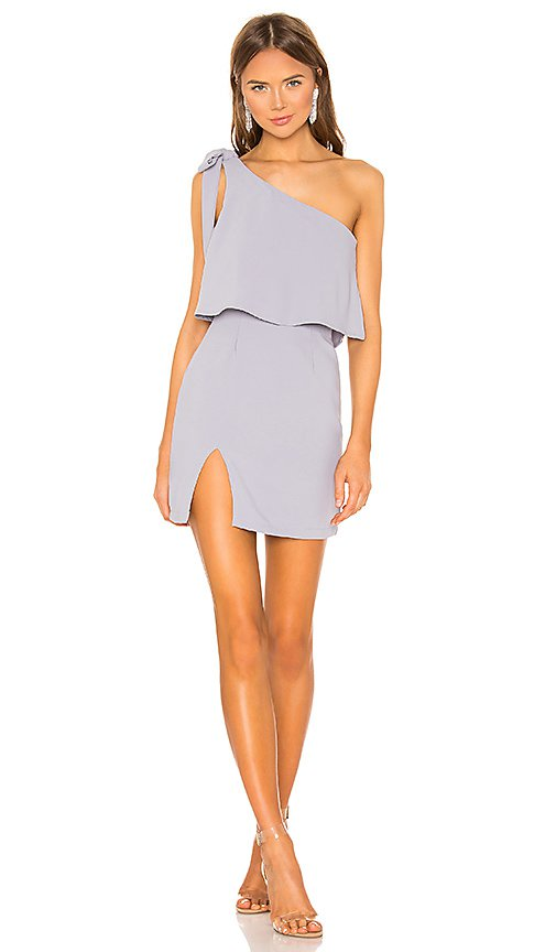 superdown Jenna One Shoulder mini Dress in Grey | REVOLVE