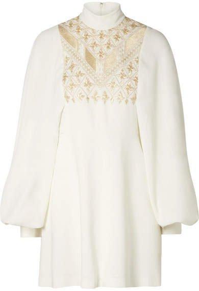 Embroidered Crepe Mini Dress - Ivory