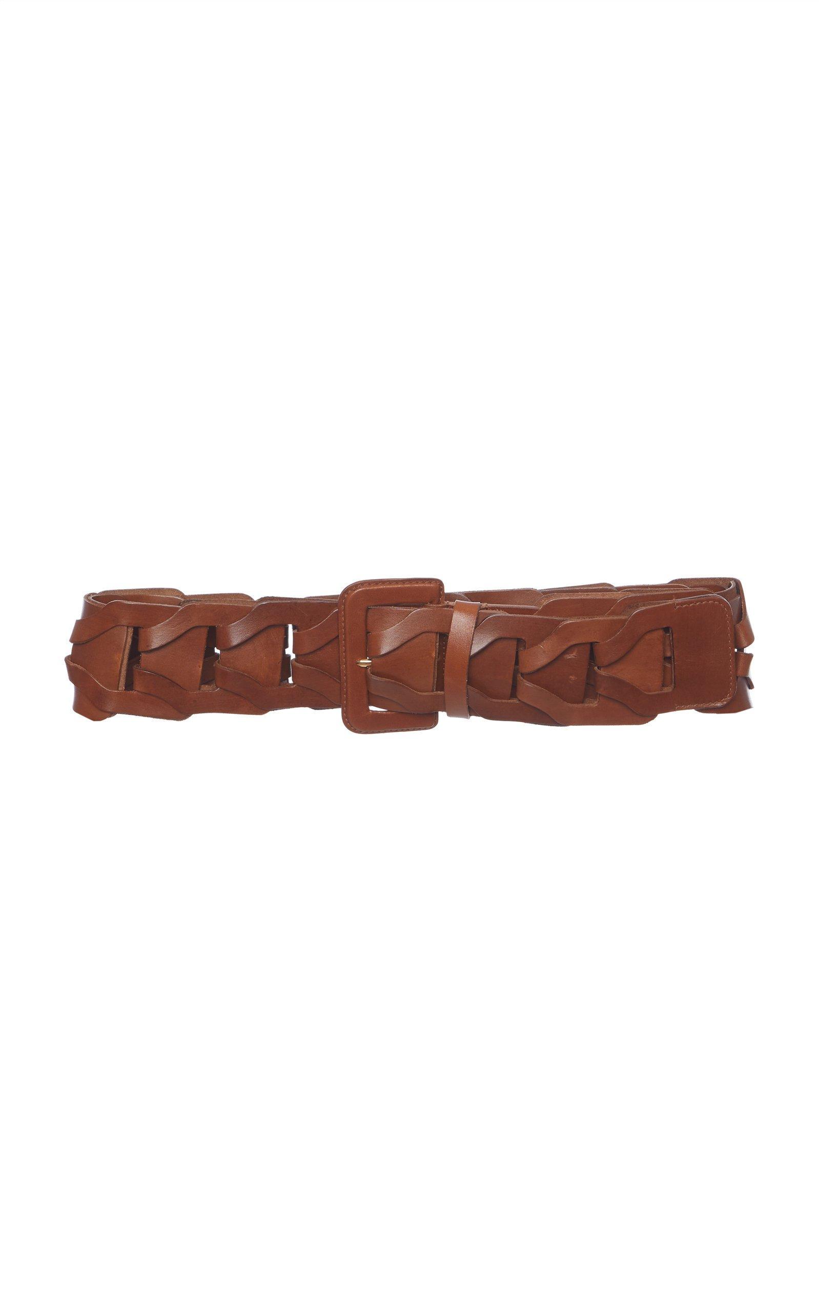 Prada Wide Woven Leather Belt Size: 65 cm