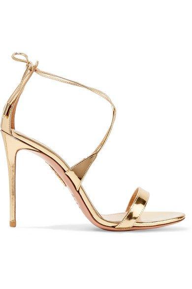 Aquazzura   Linda 105 metallic leather sandals   NET-A-PORTER.COM
