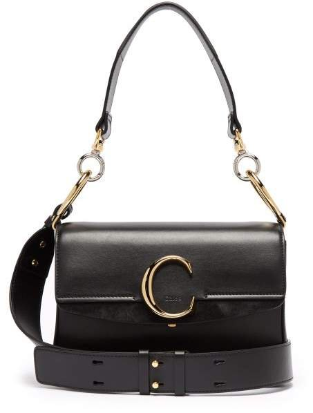 The C Leather And Suede Shoulder Bag - Womens - Black