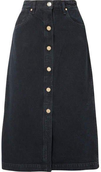 The Button Front Denim Midi Skirt - Black