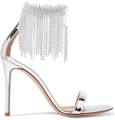 100 Crystal-embellished Metallic Leather Sandals - Silver