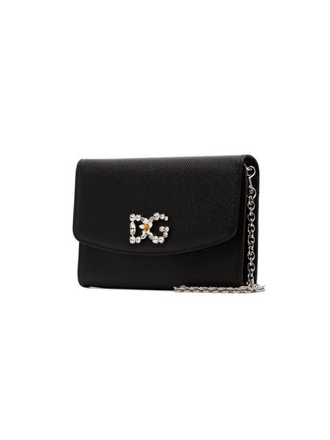 DOLCE & GABBANA black DG crystal embellished leather wallet on chain