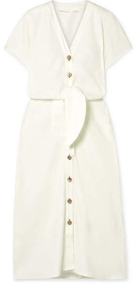 Giana Tie-front Linen-blend Midi Dress - Ivory