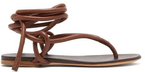 Wraparound Ankle Strap Leather Sandals - Womens - Tan