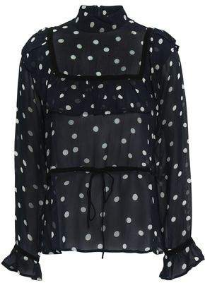 Marceau Ruffled Polka-dot Georgette Blouse