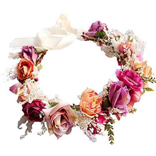 YAZILIND Wedding Bridal Flower Wreath Crown Bridesmaid Rose Floral Garland Beach Headdress with Ribbon Photo Props: Amazon.ca: Jewelry