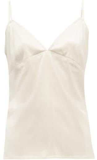 V Neck Silk Cami Top - Womens - Ivory