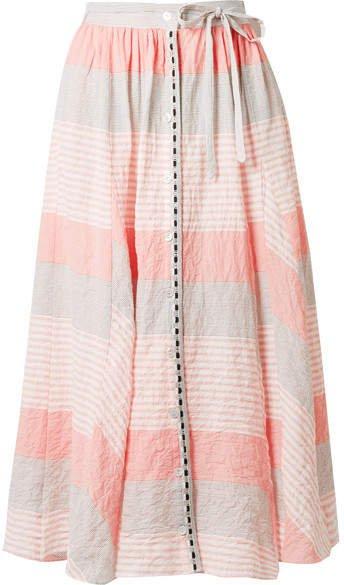 Dera Godet Striped Cotton-blend Gauze Midi Skirt - Pastel pink