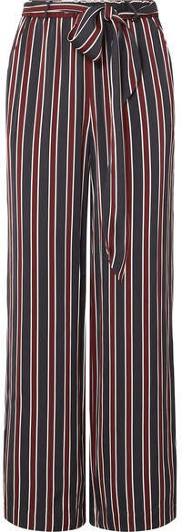Easy Striped Charmeuse Wide-leg Pants - Navy