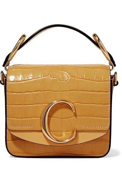 Chloé   Chloé C mini smooth and croc-effect leather shoulder bag   NET-A-PORTER.COM