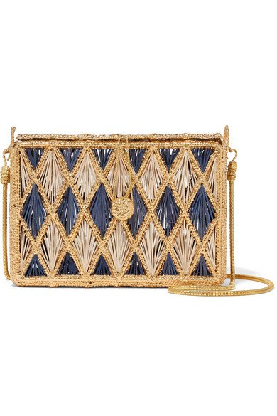 Magnetic Midnight   Rombos woven palm leaf and gold-plated shoulder bag   NET-A-PORTER.COM