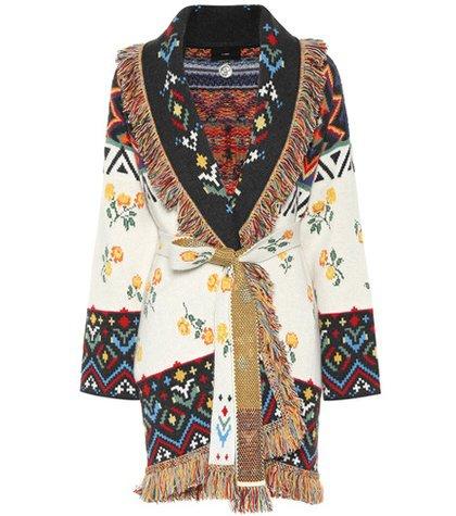 Jacquard cashmere cardigan
