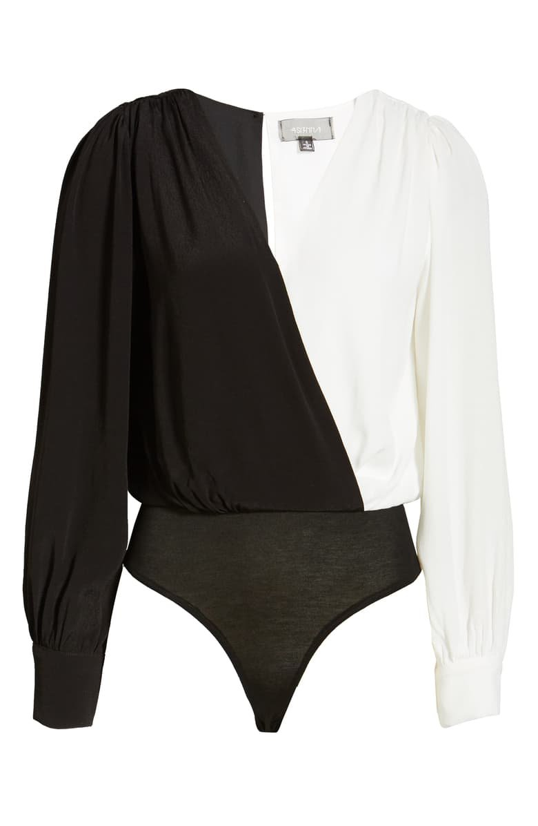 4SI3NNA Ari Colorblock Surplice Bodysuit black white