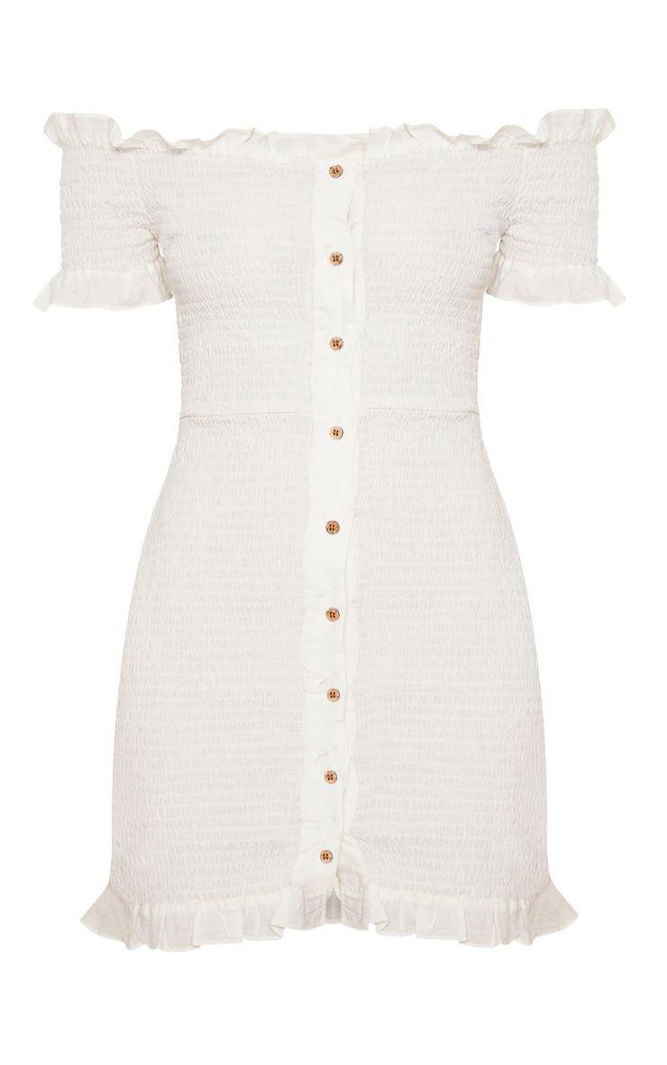 WHITE SHIRRING BUTTON DETAIL BARDOT BODYCON DRESS