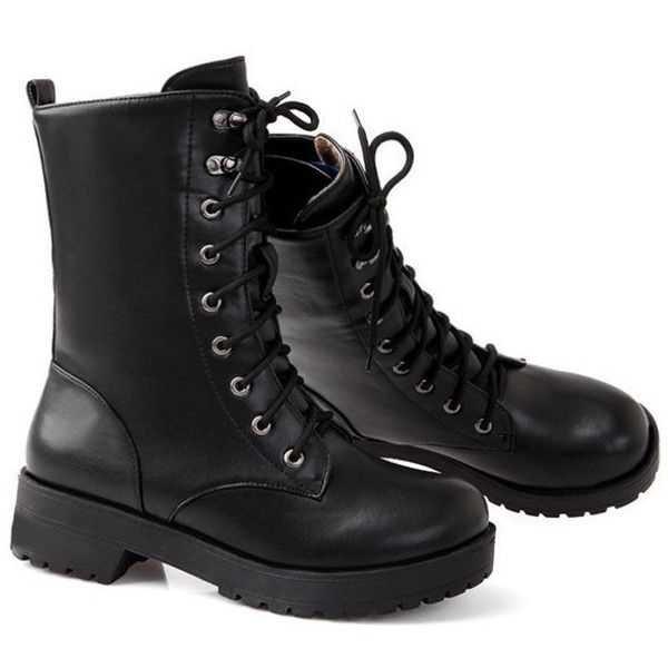 black mid length combat boots - Recherche Google