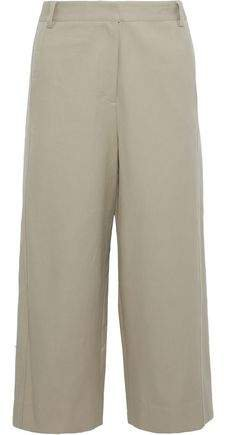 Margaux Cropped Cotton-twill Wide-leg Pants