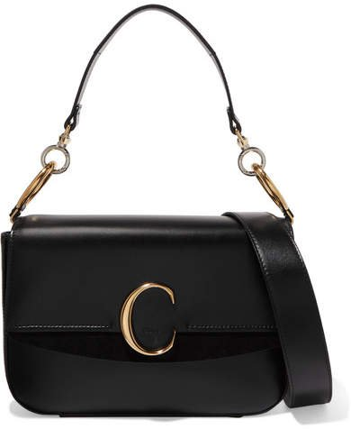 C Medium Suede-trimmed Leather Shoulder Bag - Black