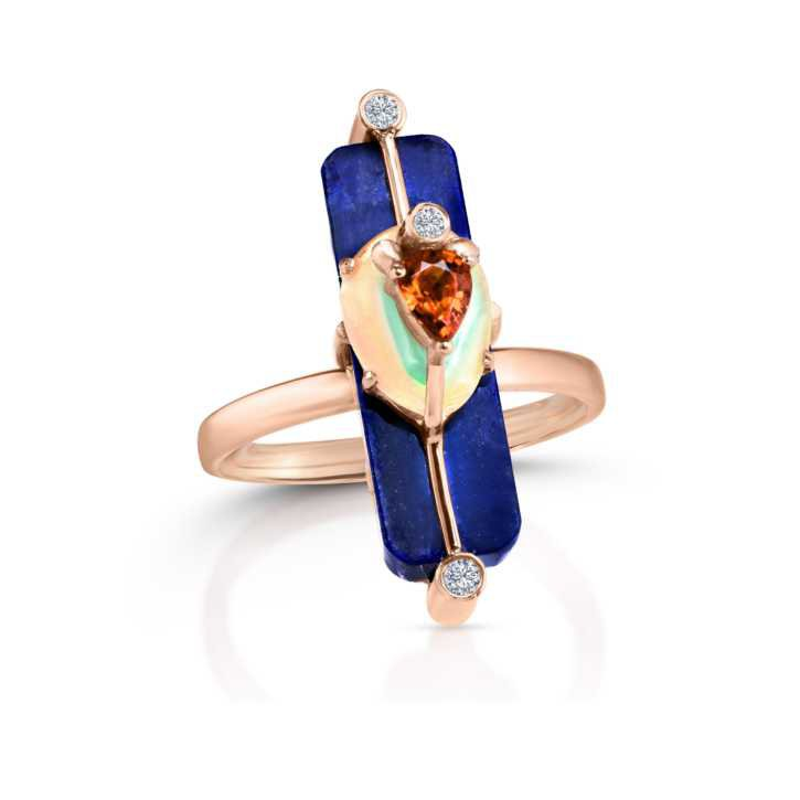 Moderne Gemstone Stick Ring with Lapis, Ethiopian Opal, Red Orange Sapphire, 14K Rose Gold - Loriann Jewelry