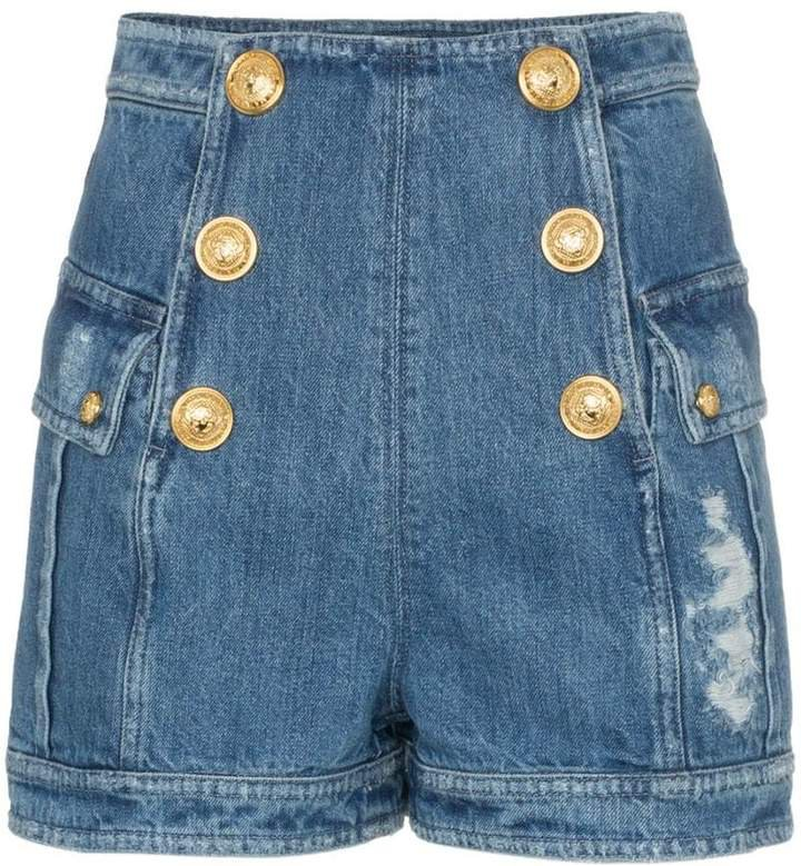 high waisted button-down short shorts