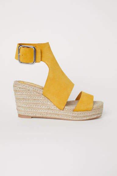 Wedge-heel Sandals - Yellow