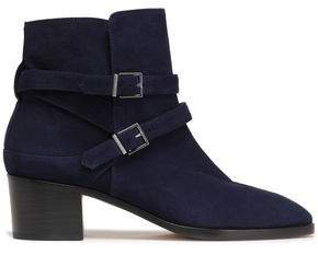 Buckled Suede Ankle Boots