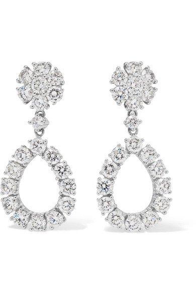 Chopard | L'Heure du Diamant 18-karat white gold diamond earrings | NET-A-PORTER.COM