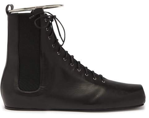 Combat Ring Detail Lace Up Leather Boots - Womens - Black