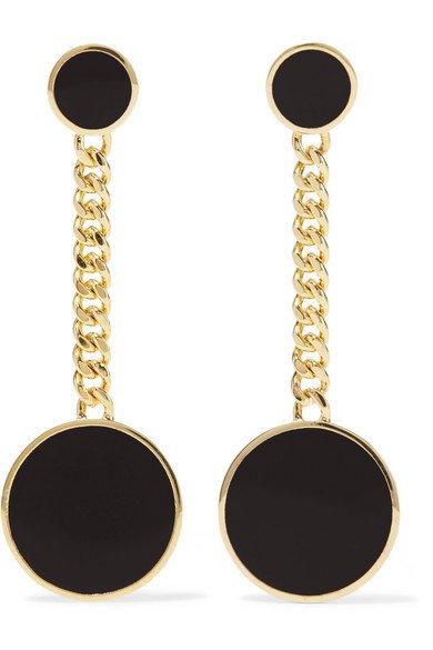 ARME DE L'AMOUR Gold-plated enamel earrings