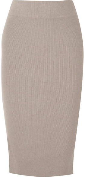 Ribbed Stretch-cotton Midi Skirt - Gray