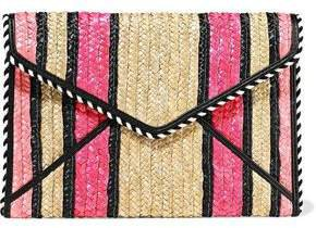 Leo Striped Woven Straw Envelope Clutch